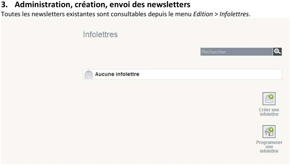 newsletters existantes sont