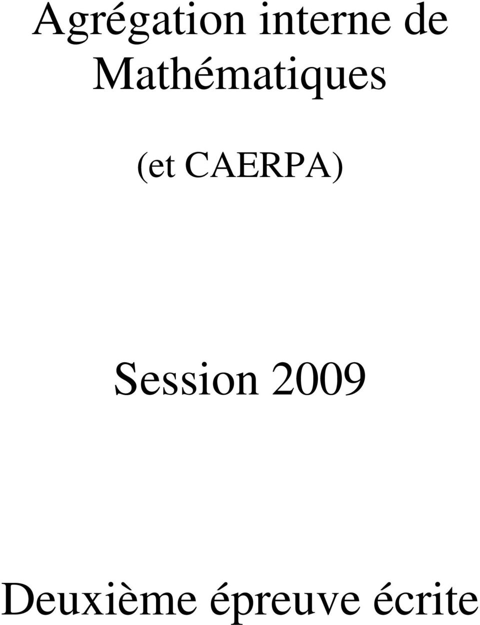 CAEPA Session 2009
