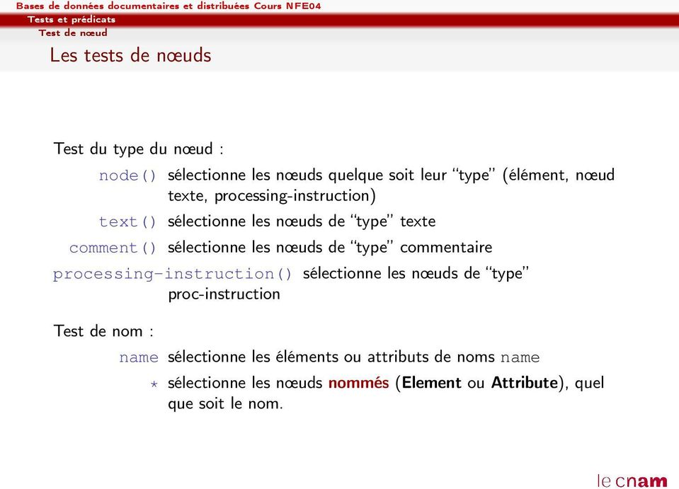 nœuds de type commentaire processing-instruction() sélectionne les nœuds de type proc-instruction Test de nom : name