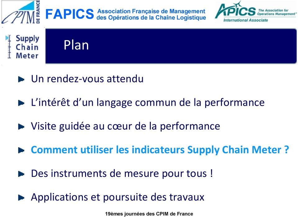 Comment utiliser les indicateurs Supply Chain Meter?