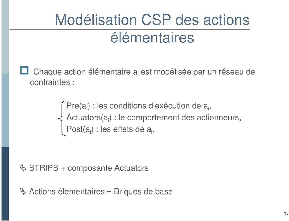 de a i, Actuators(a i ) : le comportement des actionneurs, Post(a i ) : les