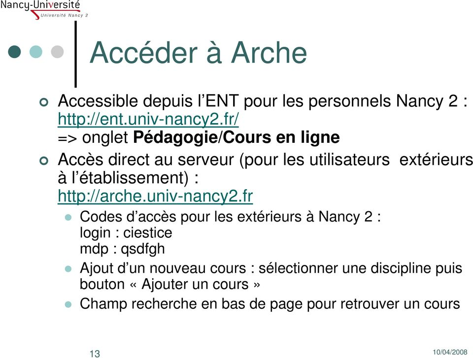 établissement) : http://arche.univ-nancy2.