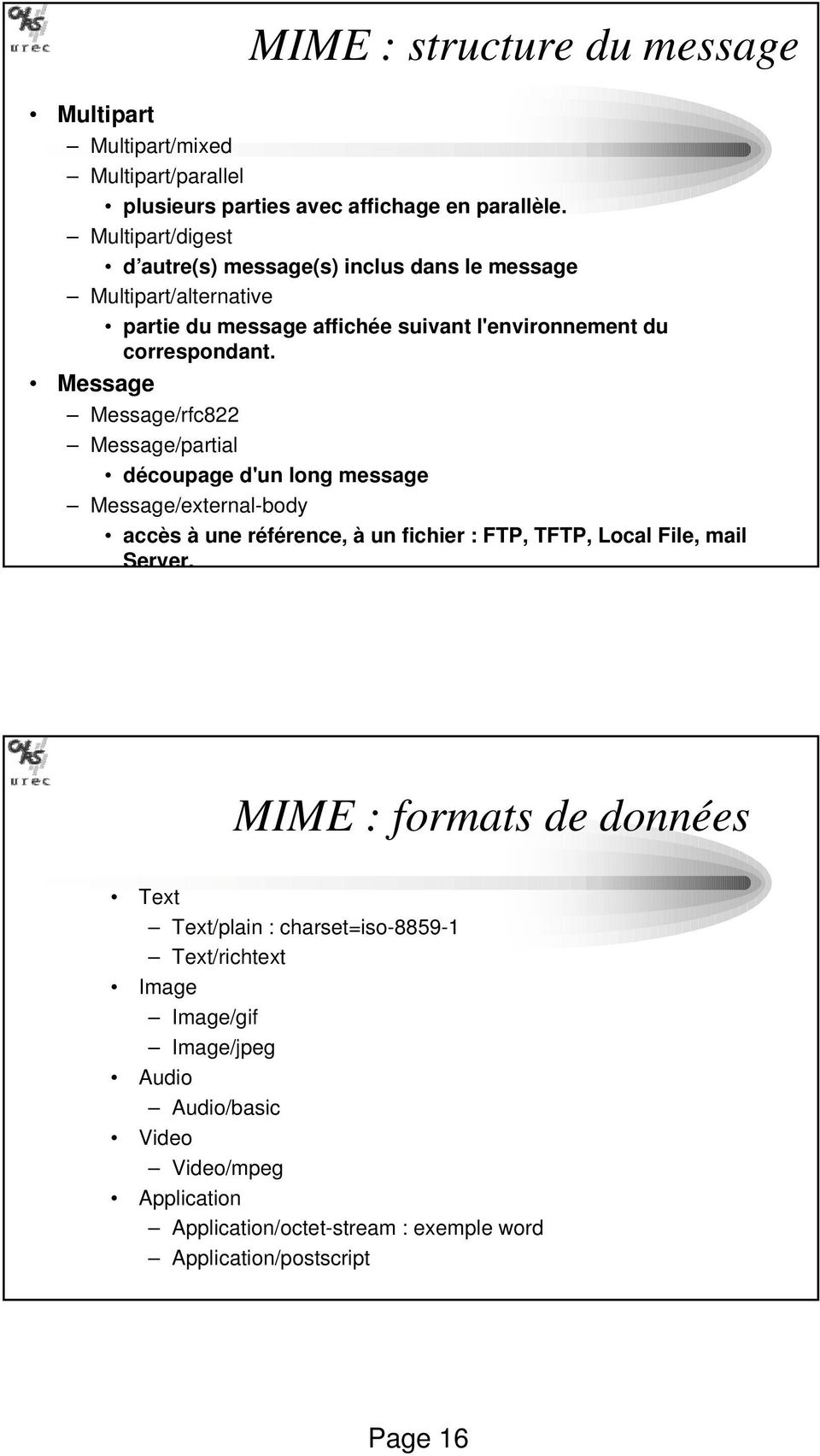 Message Message/rfc822 Message/partial découpage d'un long message Message/external-body accès à une référence, à un fichier : FTP, TFTP, Local File, mail Server.