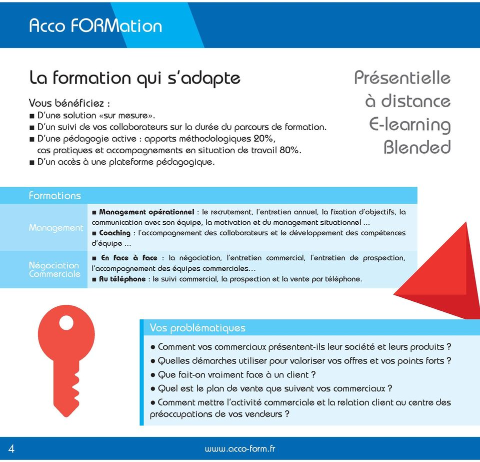 Présentielle à distance E-learning Blended Formations Management Négociation Commerciale Management opérationnel : le recrutement, l entretien annuel, la fixation d objectifs, la communication avec