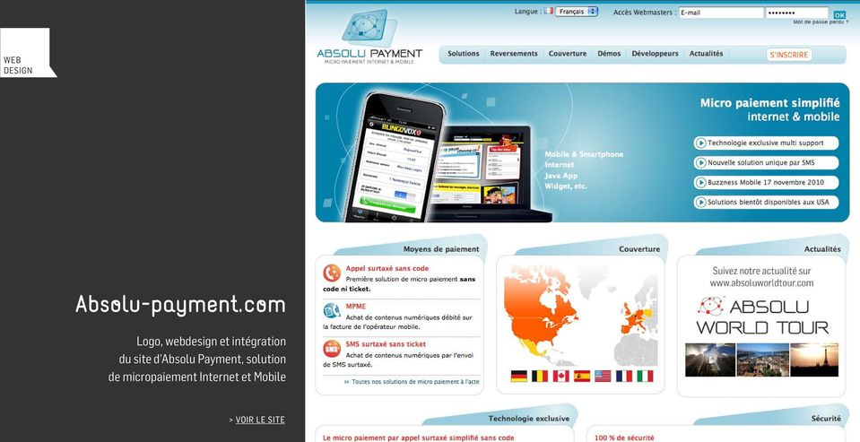 du site d Absolu Payment, solution