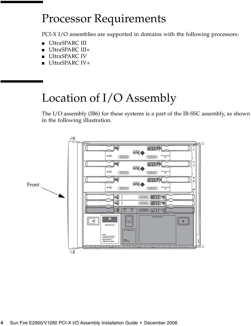 Assembly The I/O assembly (IB6) for these systems is a part of the IB-SSC assembly, as shown