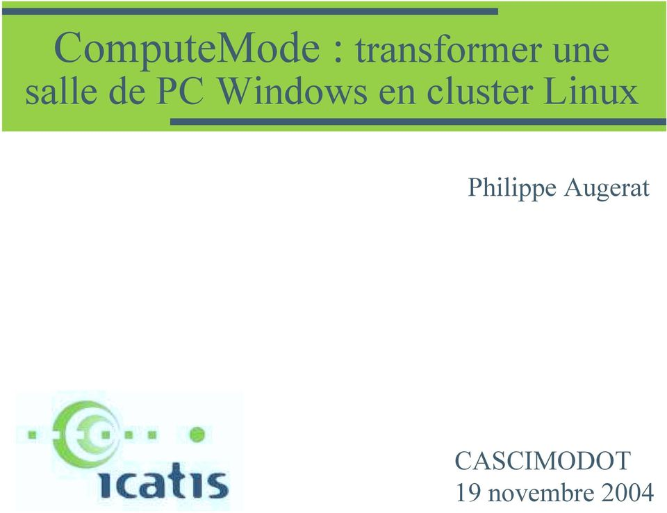 cluster Linux Philippe