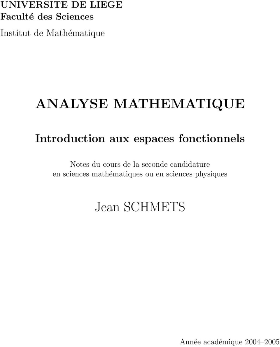 fonctionnels Notes du cours de la seconde candidature en