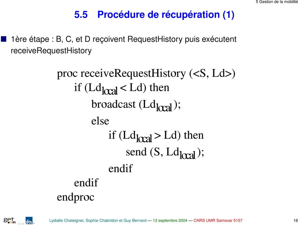 exécutent receiverequesthistory Lydialle Chateigner, Sophie