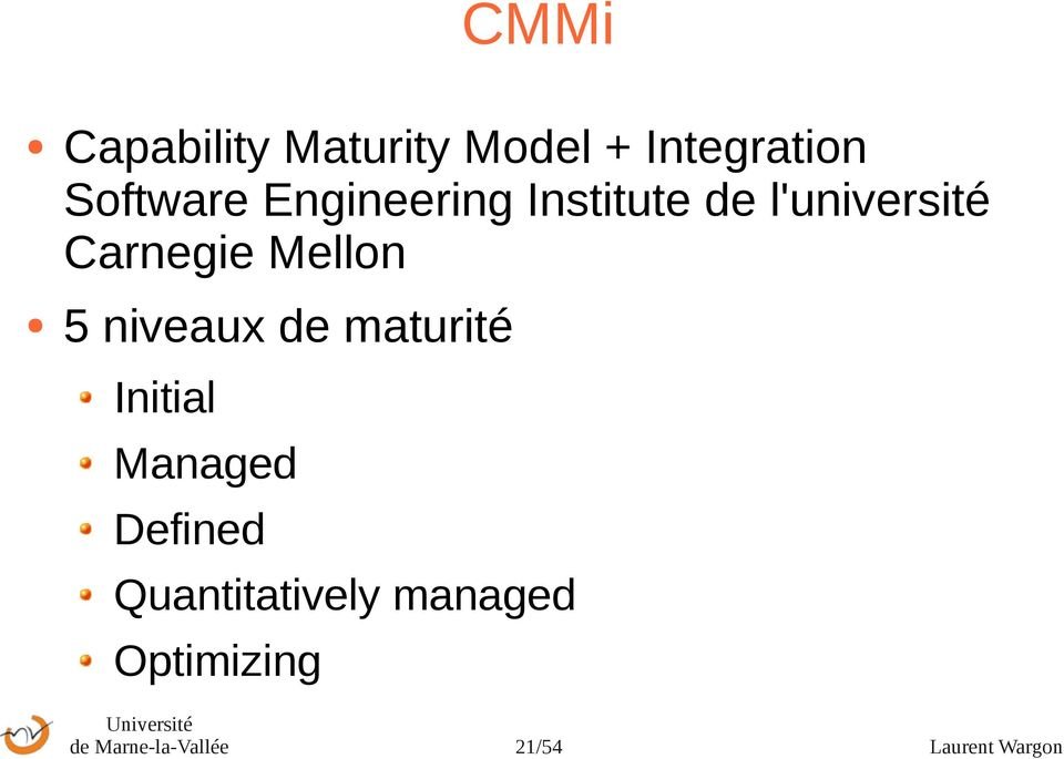 niveaux de maturité Initial Managed Defined