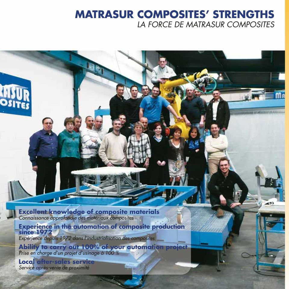 1972 Expérience depuis 1972 dans l industrialisation des composites Ability to carry out 100% of your