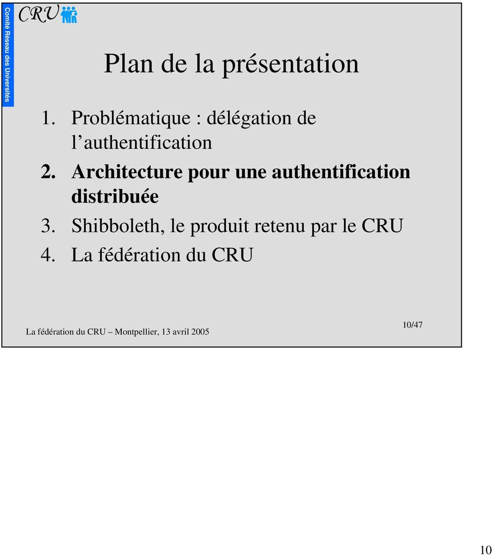 Architecture pour une authentification distribuée 3.