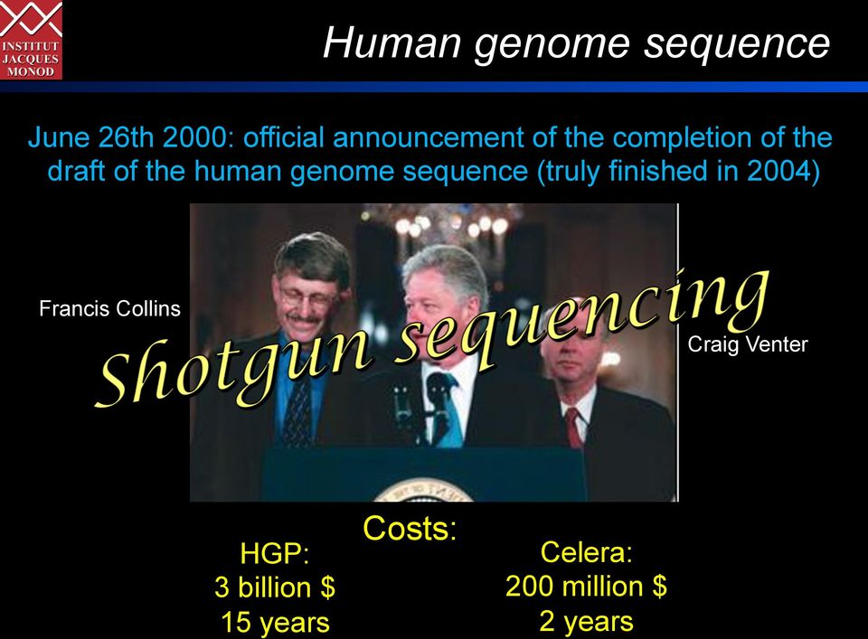 genome sequence (truly finished in 2004) Francis Collins