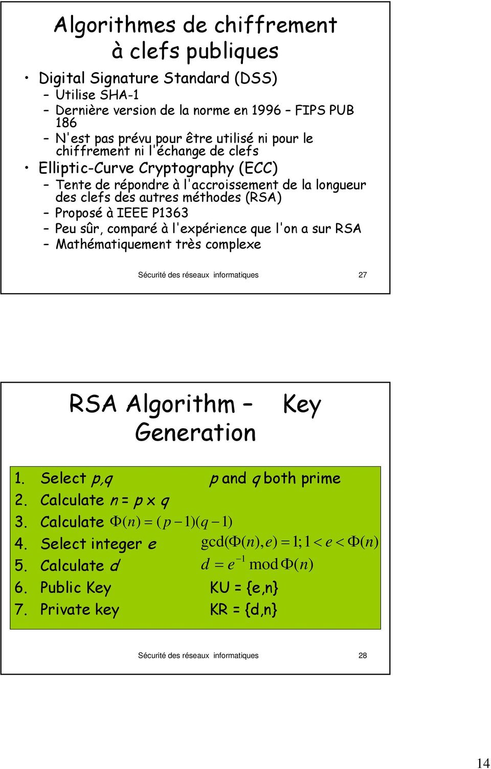 l'expérience que l'on a sur RSA Mathématiquement très complexe Sécurité des réseaux informatiques 27 RSA Algorithm Generation Key 1. Select p,q p and q both prime 2. Calculate n = p x q 3.