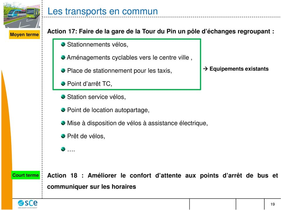 existants Point d arrêt TC, Station service vélos, Point de location autopartage, Mise à disposition de vélos à