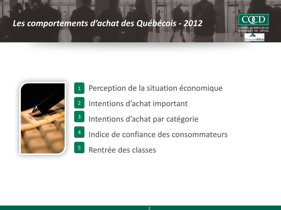 Intentions d achat important Intentions d achat par