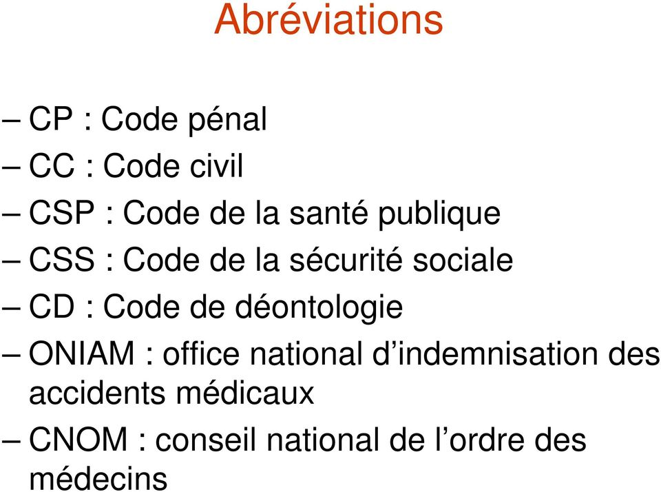 déontologie ONIAM : office national d indemnisation des