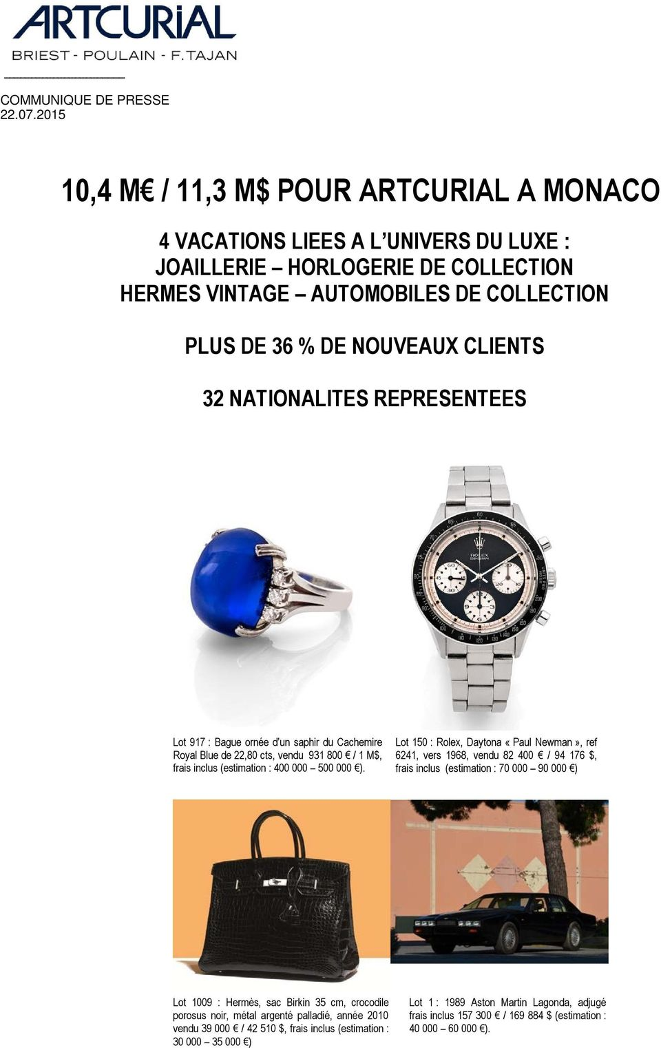32 NATIONALITES REPRESENTEES Lot 917 : Bague ornée d un saphir du Cachemire Royal Blue de 22,80 cts, vendu 931 800 / 1 M$, frais inclus (estimation : 400 000 500 000 ).