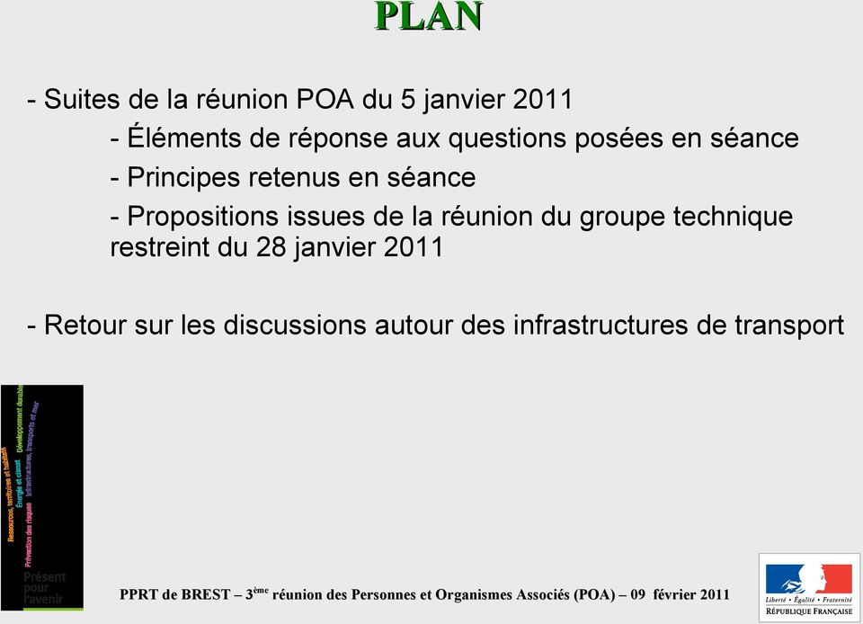 Propositions issues de la réunion du groupe technique restreint du 28