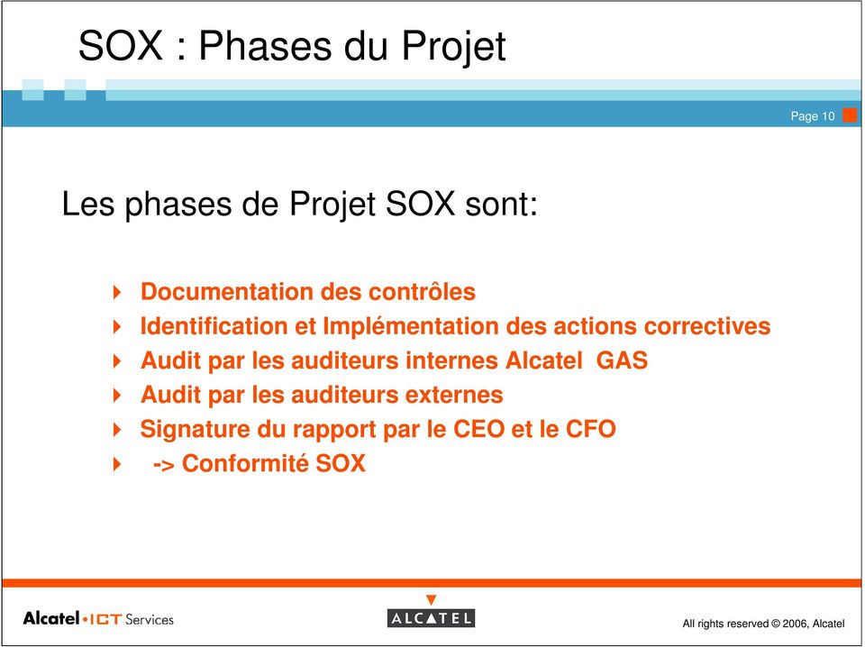 actions correctives Audit par les auditeurs internes Alcatel GAS Audit