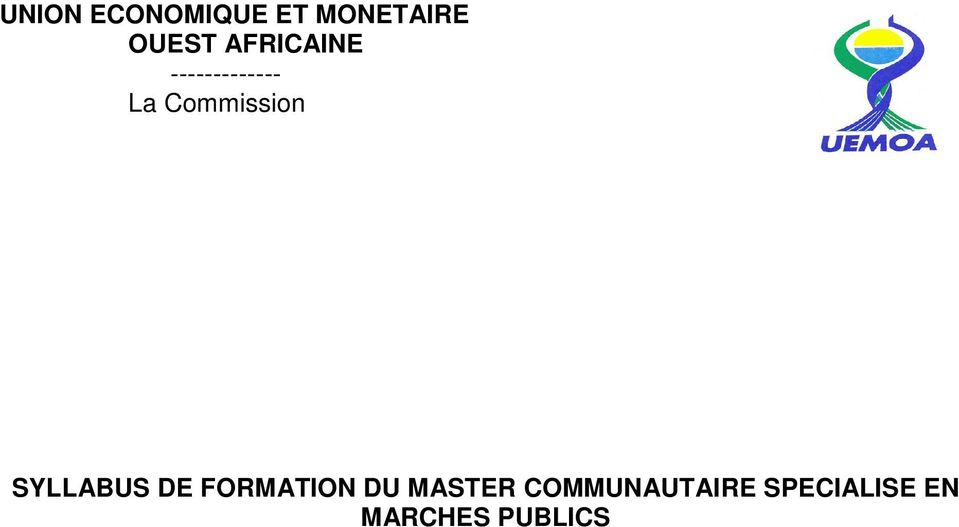 SYLLABUS DE FORMATION DU MASTER