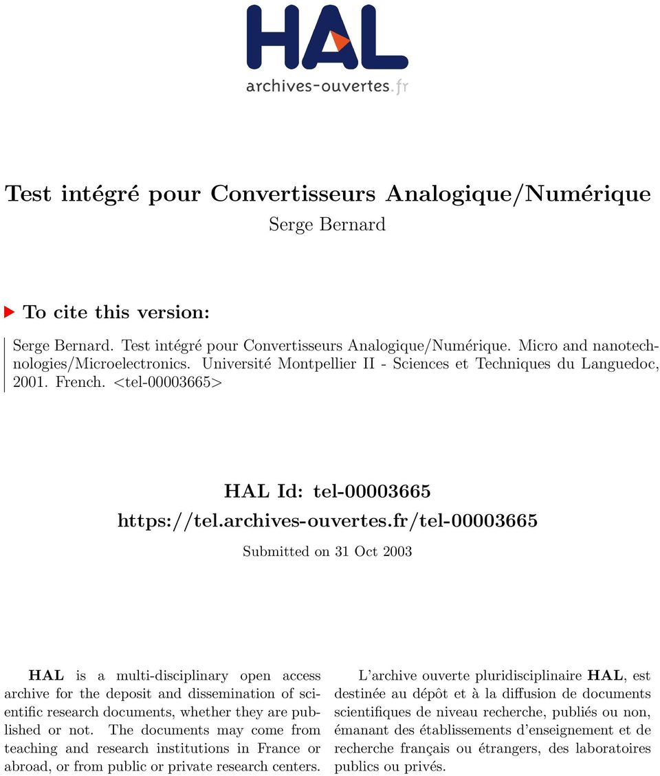 fr/tel-00003665 Submitted on 31 Oct 2003 HAL is a multi-disciplinary open access archive for the deposit and dissemination of scientific research documents, whether they are published or not.