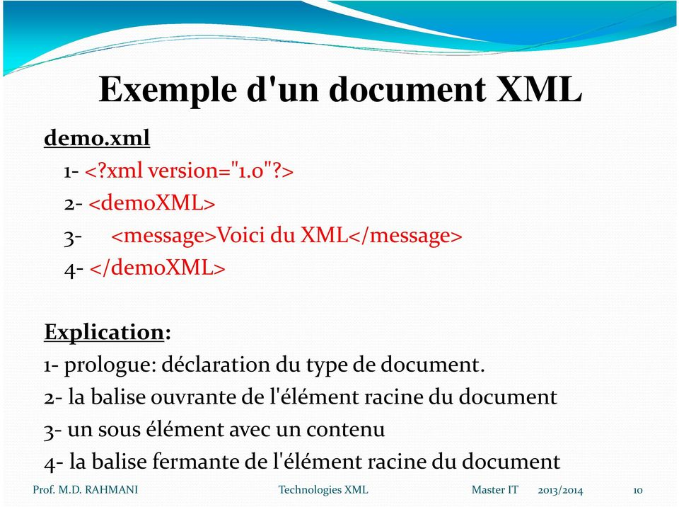 prologue: déclaration du type de document.