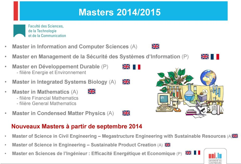 Mathematics Master in Condensed Matter Physics (A) Nouveaux Masters à partir de septembre 2014 Master of Science in Civil Engineering Megastructure Engineering