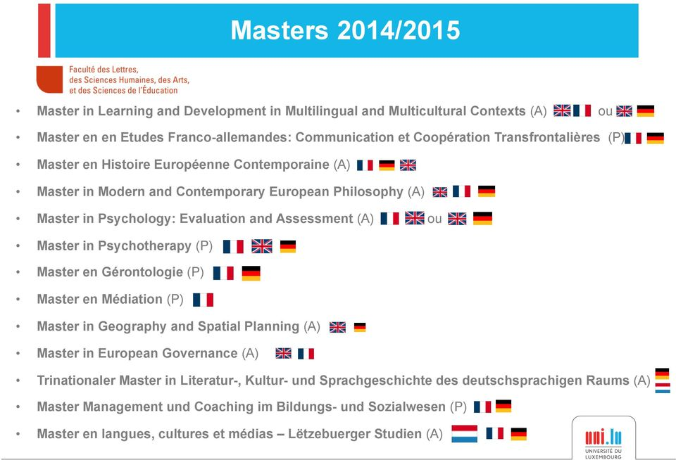 Master in Psychotherapy (P) Master en Gérontologie (P) Master en Médiation (P) Master in Geography and Spatial Planning (A) Master in European Governance (A) Trinationaler Master in