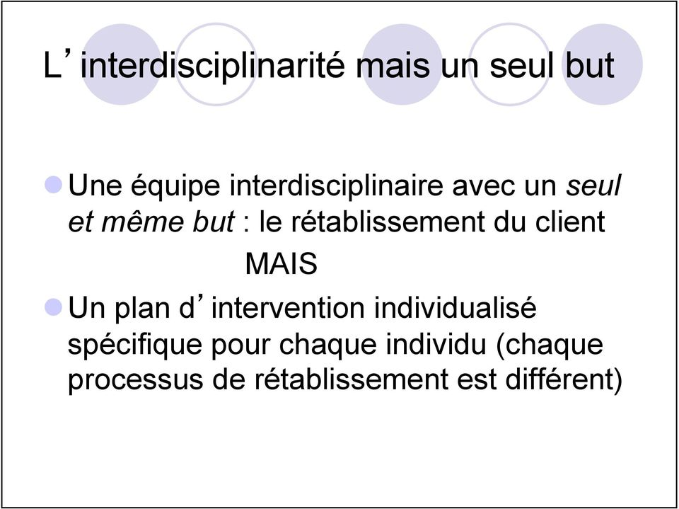 rétablissement du client MAIS l Un plan d intervention