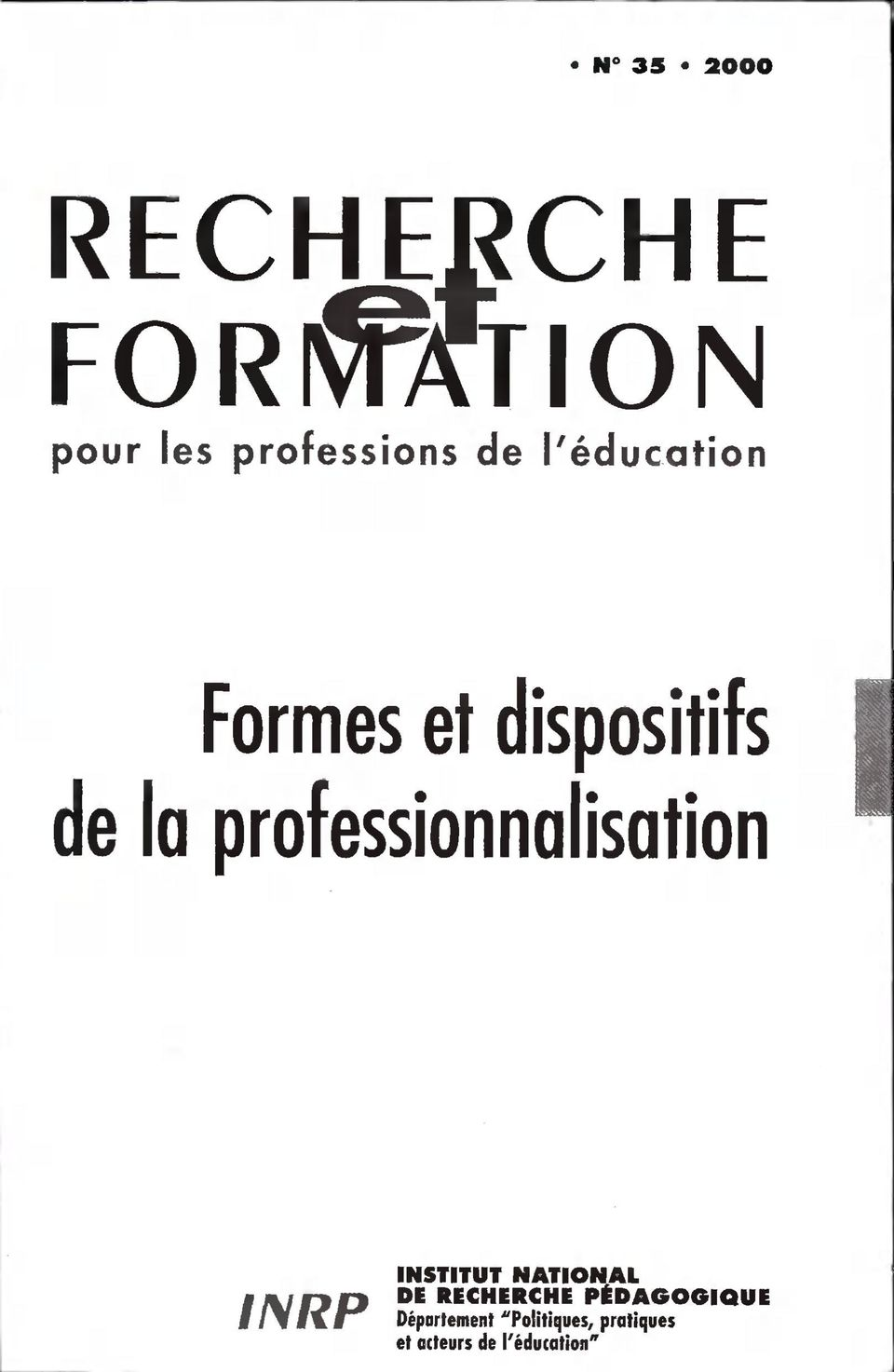 professionnalisation H i \JfJD f /\ Ê\ê INSTITUT NATIONA1