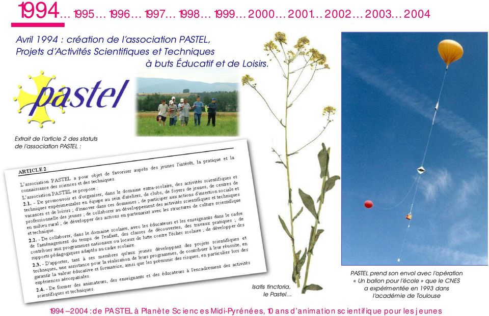 Extrait de l article 2 des statuts de l association PASTEL : Isatis tinctoria, le