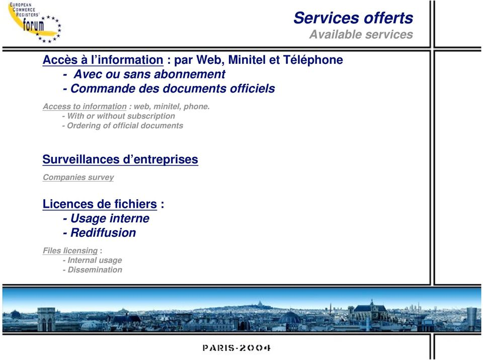 - With or without subscription - Ordering of official documents Services offerts Available services