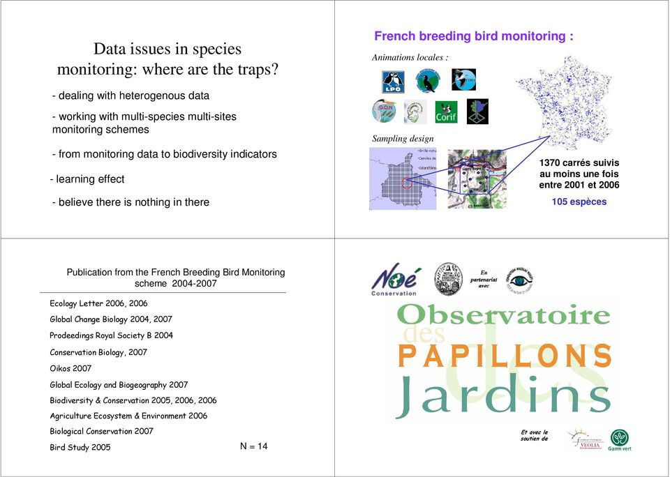 biodiversity indicators - learning effect - believe there is nothing in there Sampling design 7 carrés suivis au moins une fois entre et 6 5 espèces Publication from the French