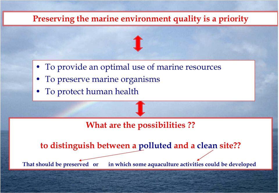 What are the possibilities?? to distinguish between a polluted and a clean site?