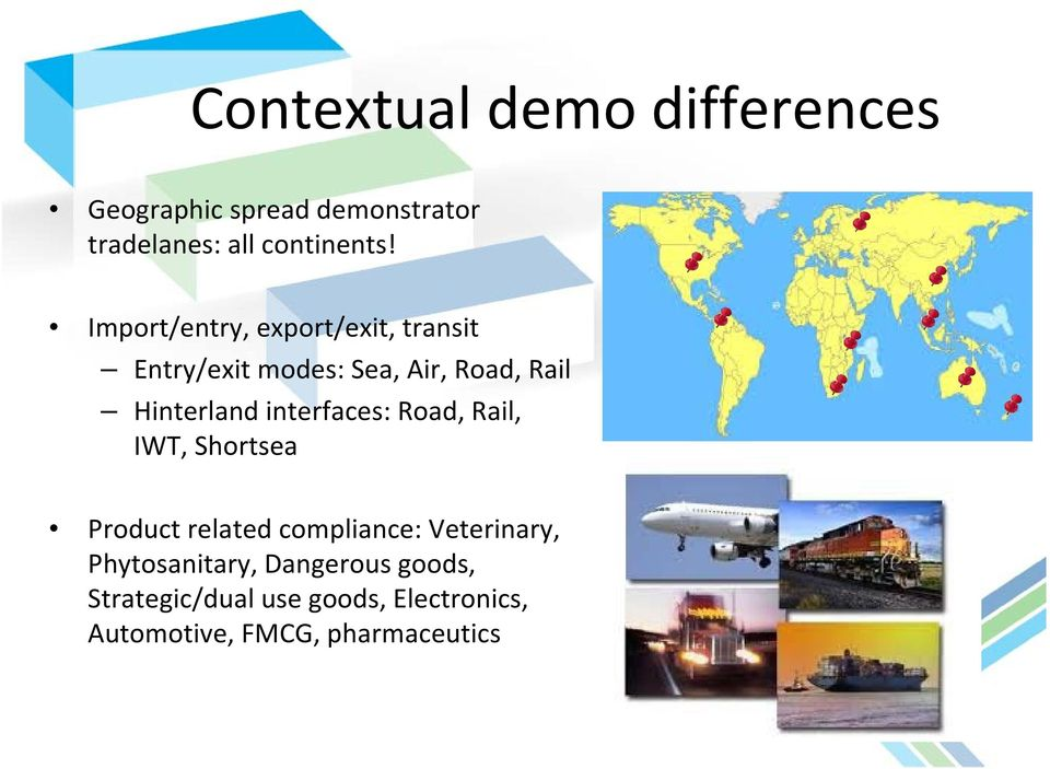 interfaces: Road, Rail, IWT, Shortsea Product related compliance: Veterinary,