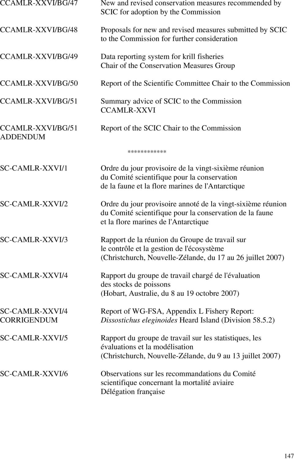 Report of the Scientific Committee Chair to the Commission Summary advice of SCIC to the Commission CCAMLR-XXVI Report of the SCIC Chair to the Commission ************ SC-CAMLR-XXVI/1 SC-CAMLR-XXVI/2