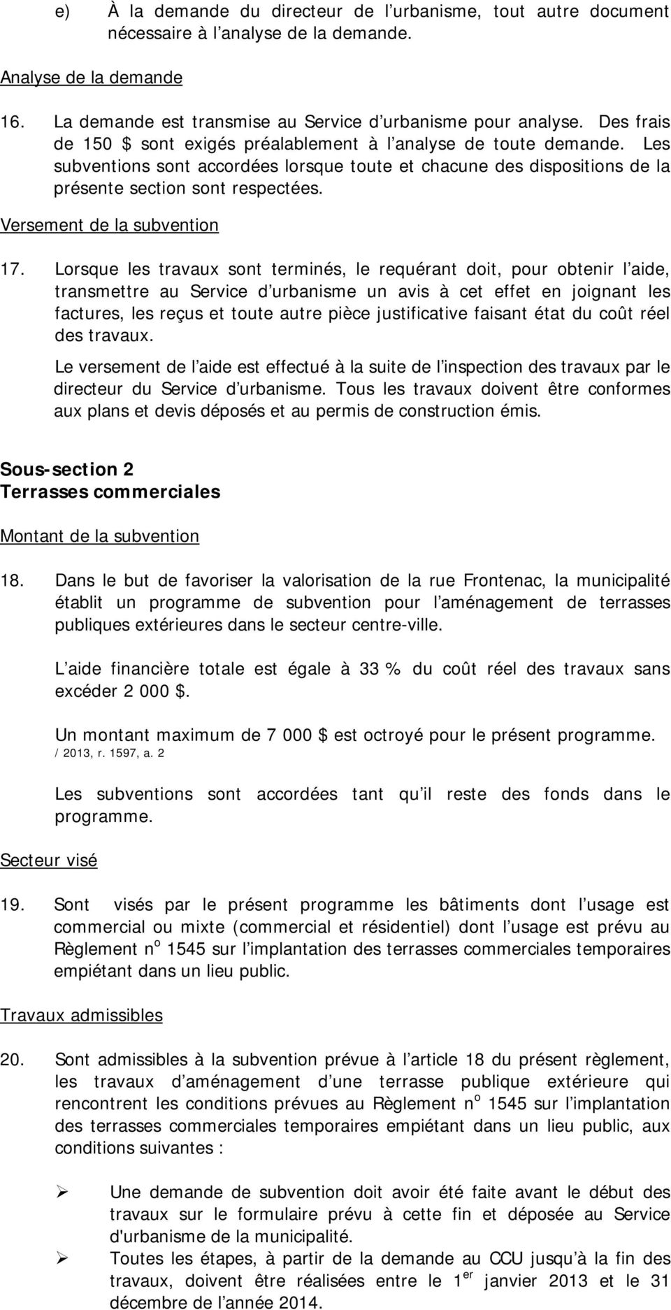 Versement de la subvention 17.