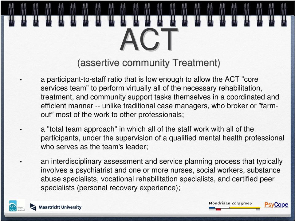 which all of the staff work with all of the participants, under the supervision of a qualified mental health professional who serves as the team's leader; an interdisciplinary assessment and service
