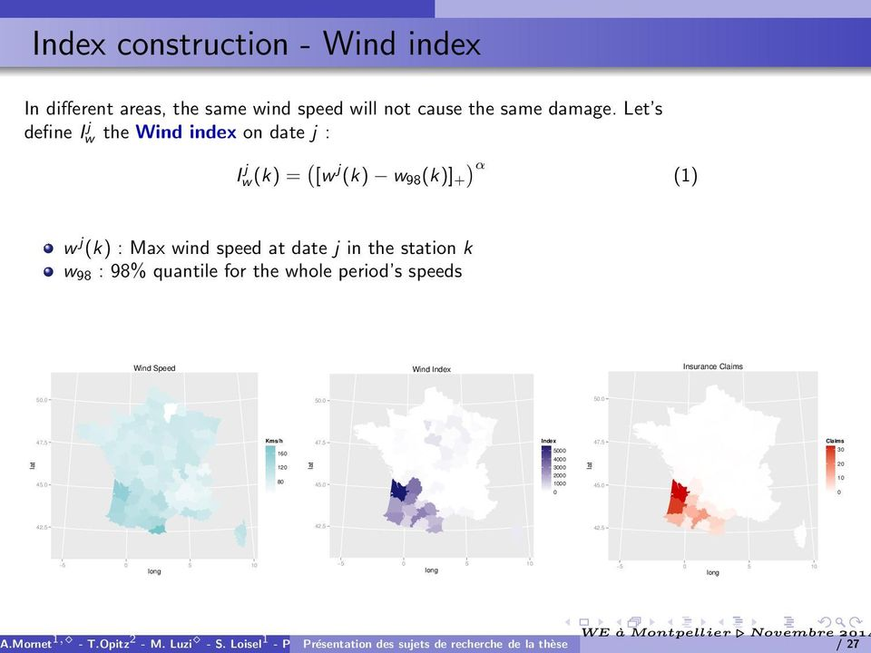 : 98% quantile for the whole period s speeds Wind Speed Wind Index Insurance Claims 50.0 50.0 50.0 lat 47.5 45.