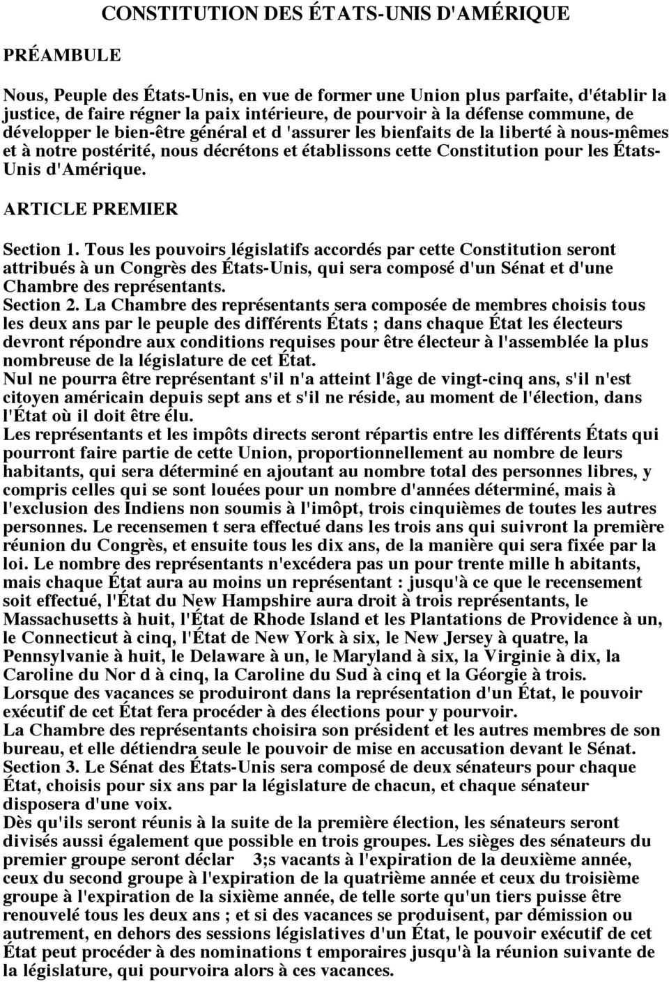 d'amérique. ARTICLE PREMIER Section 1.