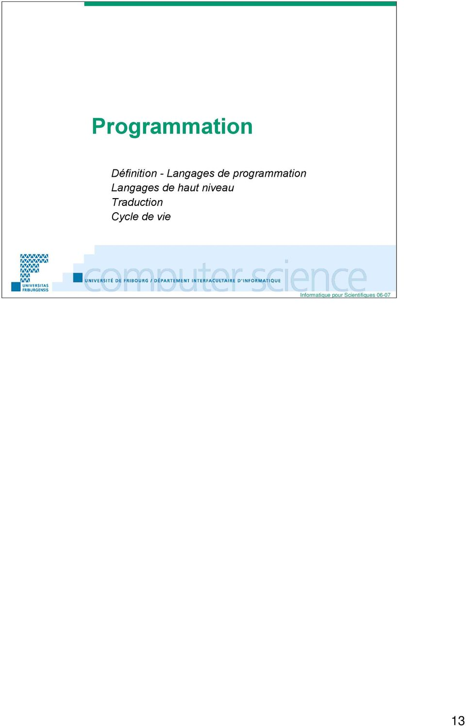 programmation Langages de