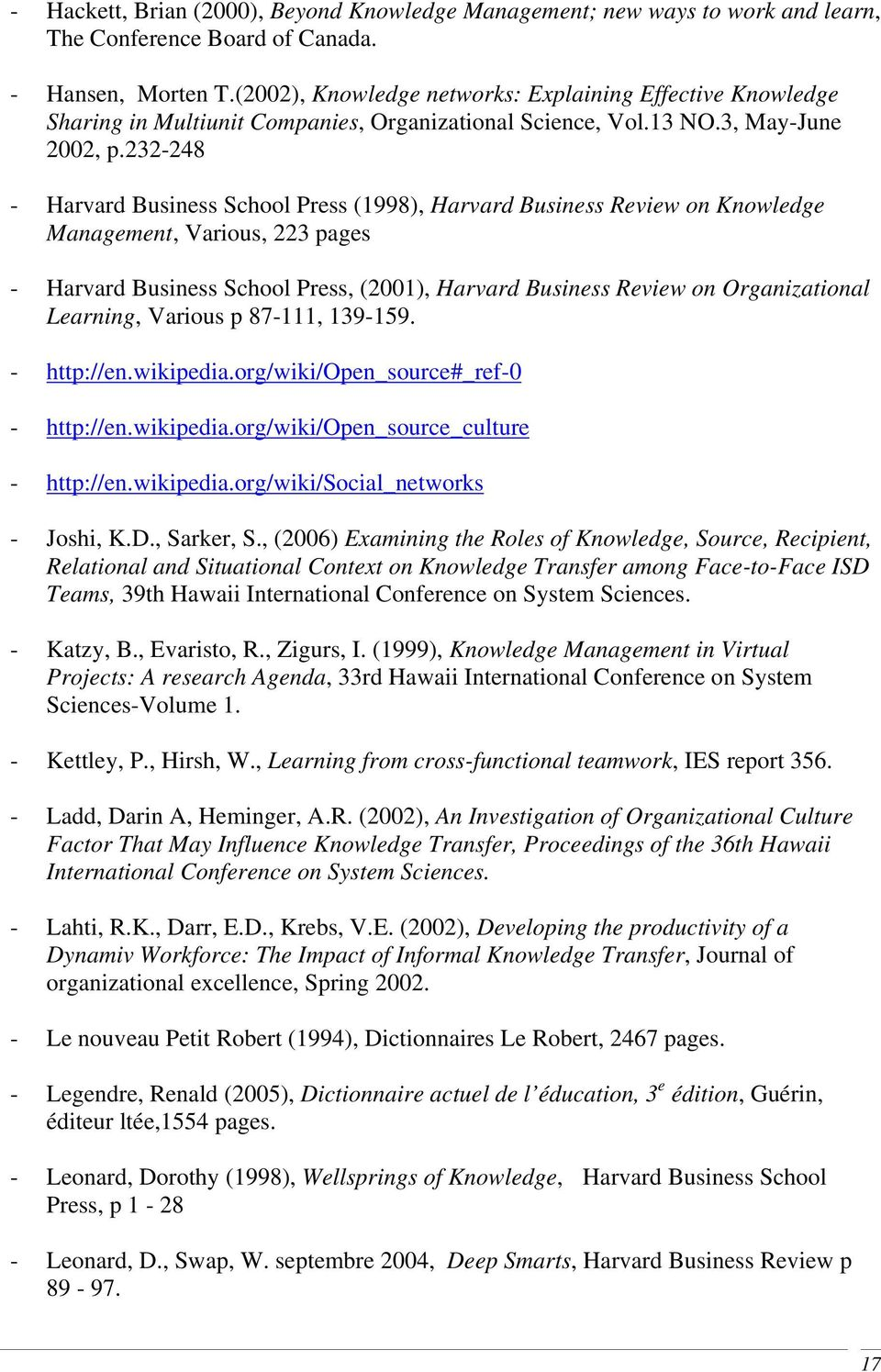 232-248 - Harvard Business School Press (1998), Harvard Business Review on Knowledge Management, Various, 223 pages - Harvard Business School Press, (2001), Harvard Business Review on Organizational