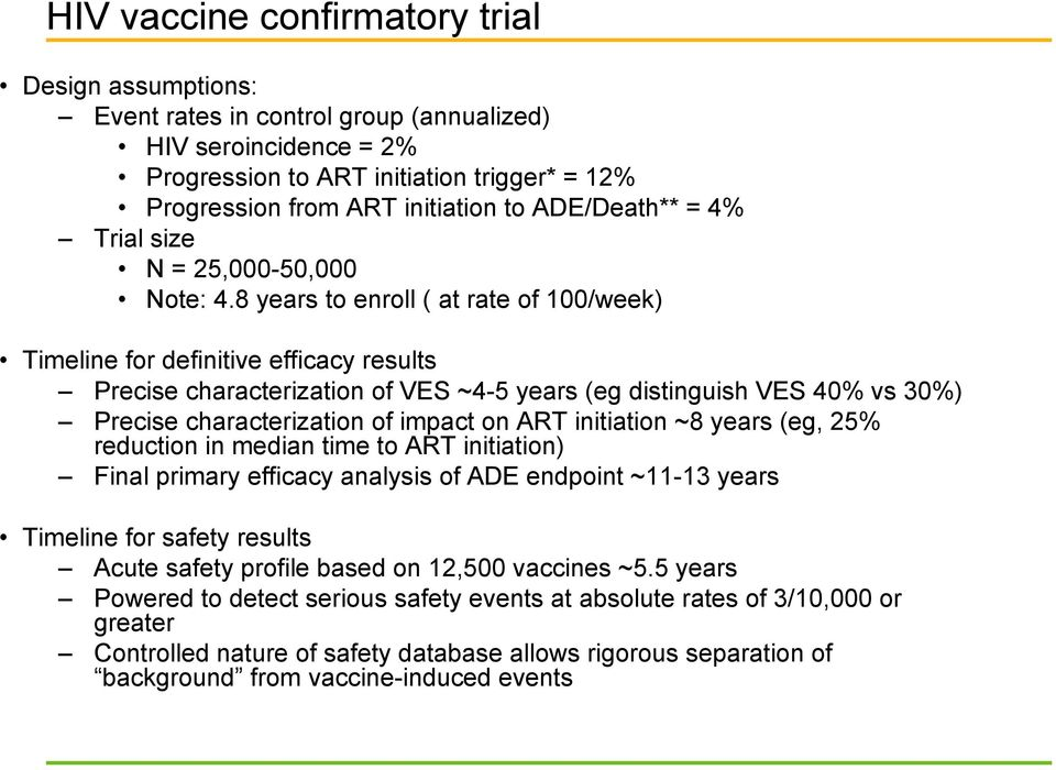 8 years to enroll ( at rate of 100/week) Timeline for definitive efficacy results Precise characterization of VES ~4-5 years (eg distinguish VES 40% vs 30%) Precise characterization of impact on ART