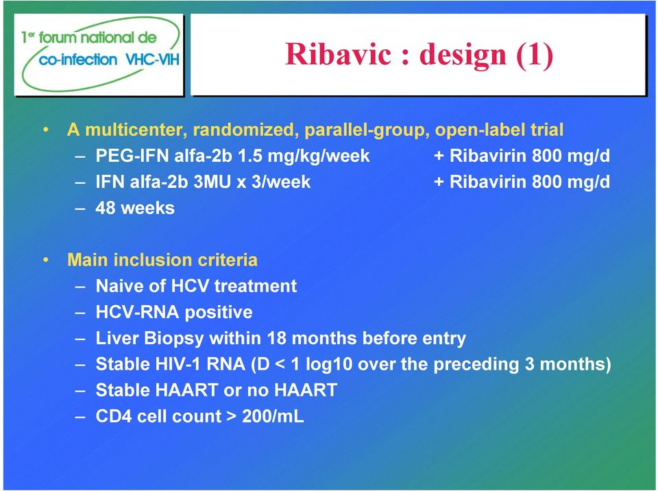 inclusion criteria Naive of HCV treatment HCV-RNA positive Liver Biopsy within 18 months before