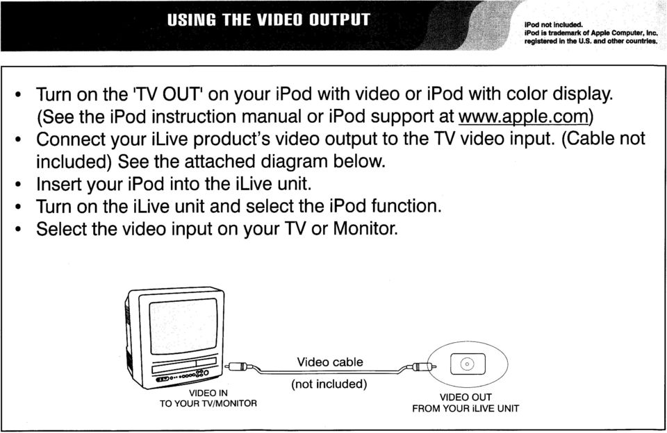 com) Connct your iliv product's vido output to th TV vido input. (Cabl not includd) S th attachd diagram blow.