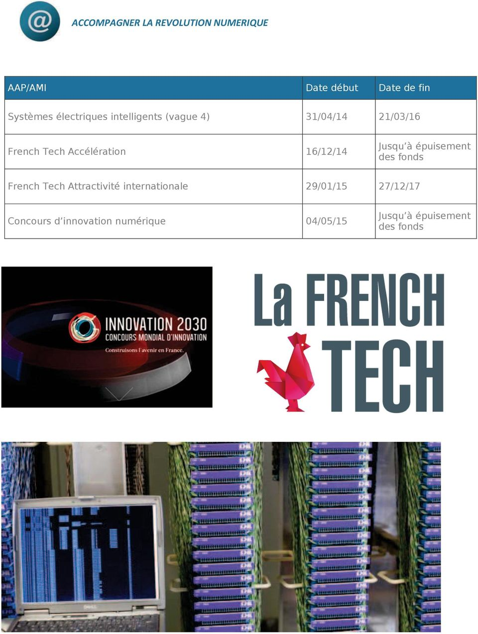 21/03/16 French Tech Accélération 16/12/14 des fonds French