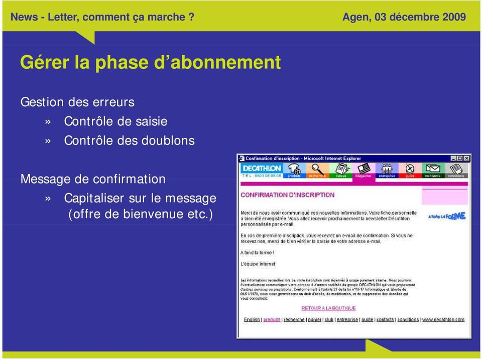 doublons Message de confirmation»