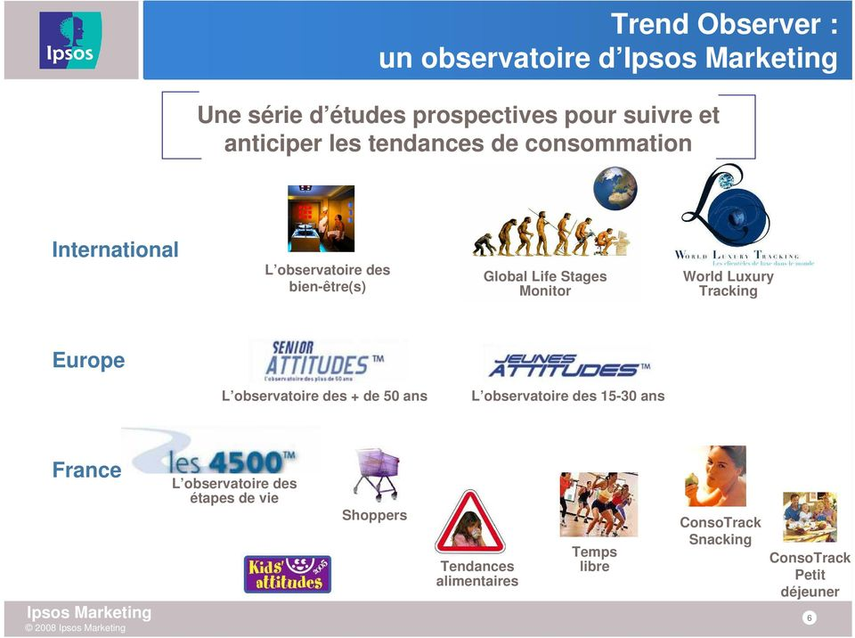 World Luxury Tracking Europe L observatoire des + de 50 ans L observatoire des 15-30 ans France L