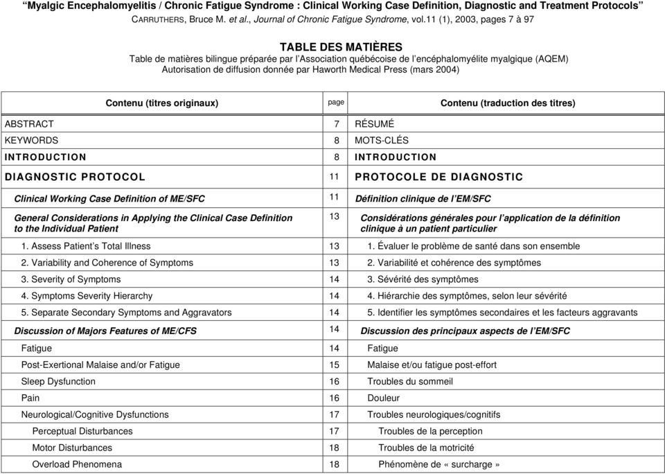 Medical Press (mars 2004) ABSTRACT KEYWORDS Contenu (titres originaux) page Contenu (traduction des titres) 7 RÉSUMÉ 8 MOTS-CLÉS INTRODUCTION 8 INTRODUCTION DIAGNOSTIC PROTOCOL 11 PROTOCOLE DE